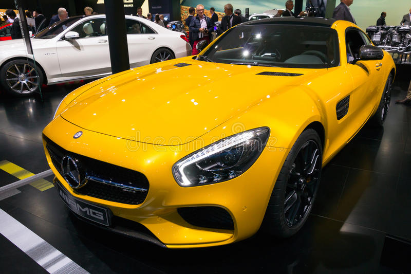 Mercedes-Benz SLS AMG. FRANKFURT, GERMANY - SEP 16, 2015: Yellow Mercedes-Benz SLS AMG sports car at the IAA 2015 royalty free stock images