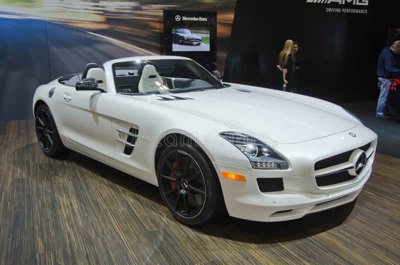 Mercedes Benz SLS AMG Roadster. TORONTO-FEBRUARY 25: Exhibition of the Mercedes Benz SLS AMG Roadster during the Canadian International Auto Show in the Toronto stock photo