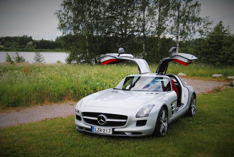 Mercedes-Benz SLS AMG. Supercar in Finland, Tuusula. What a beaty, a true future classic royalty free stock photography