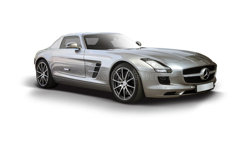 Mercedes-Benz SLS AMG Supercar. Side view isolated on white royalty free stock photo