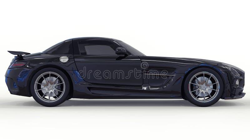 Mercedes-Benz SLS svart Tredimensionell rasterillustration Isolerad bil på vit bakgrund framförande 3d arkivbild