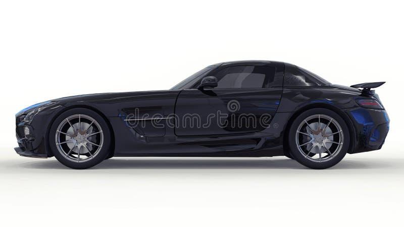 Mercedes-Benz SLS svart Tredimensionell rasterillustration Isolerad bil på vit bakgrund framförande 3d royaltyfria foton