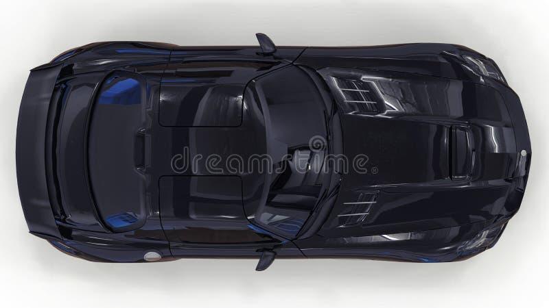 Mercedes-Benz SLS svart Tredimensionell rasterillustration Isolerad bil på vit bakgrund framförande 3d arkivfoto