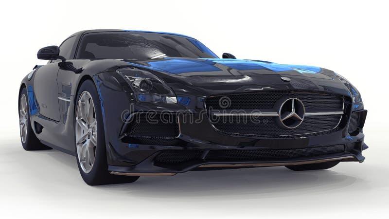 Mercedes-Benz SLS svart Tredimensionell rasterillustration Isolerad bil på vit bakgrund framförande 3d arkivbilder