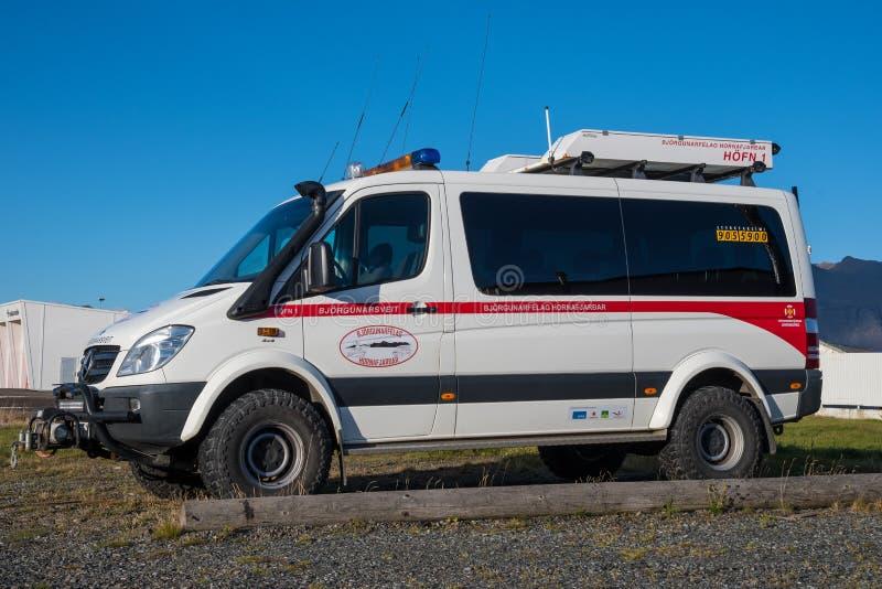 Mercedes Benz Sprinter From modificada una b?squeda y un equipo de rescate islandeses fotografía de archivo libre de regalías