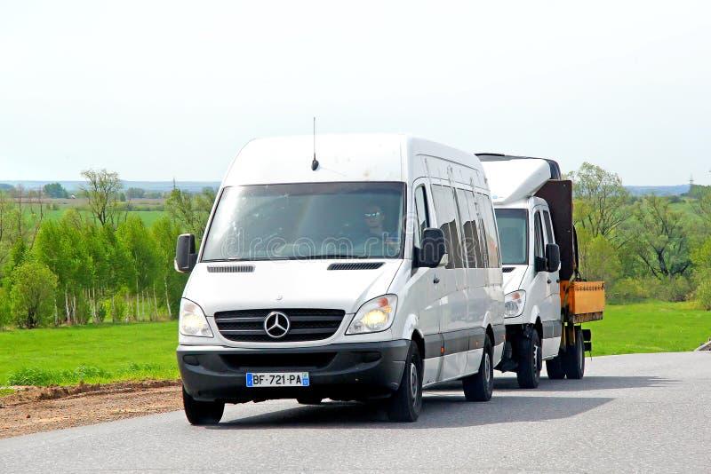 Mercedes-Benz Sprinter. TATARSTAN, RUSSIA - MAY 20, 2013: White Mercedes-Benz Sprinter vans at the interurban road