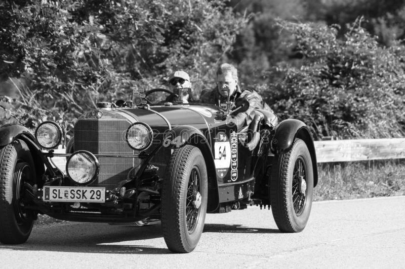 MERCEDES-BENZ 710 SSK 1929 on an old racing car in rally Mille Miglia 2018 the famous italian historical race 1927-1957. PESARO COLLE SAN BARTOLO , ITALY - MAY royalty free stock image