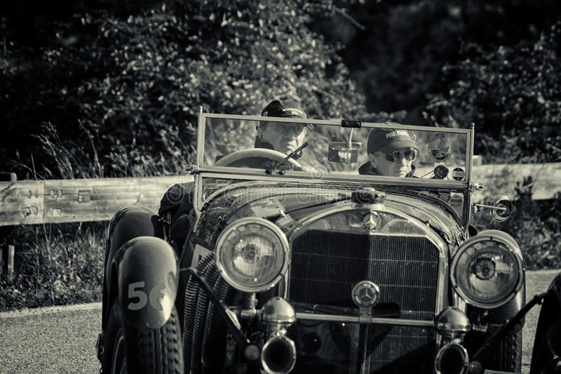 MERCEDES-BENZ 710 SSK 1929. PESARO COLLE SAN BARTOLO , ITALY - MAY 17 - 2018 :old racing car in rally Mille Miglia 2018 the famous italian historical race 1927 stock image