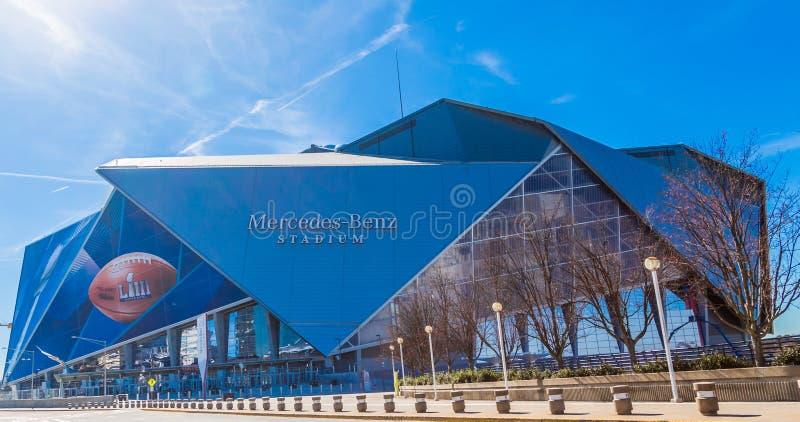 Mercedes-Benz Stadium Ready voor Super Bowl royalty-vrije stock afbeelding