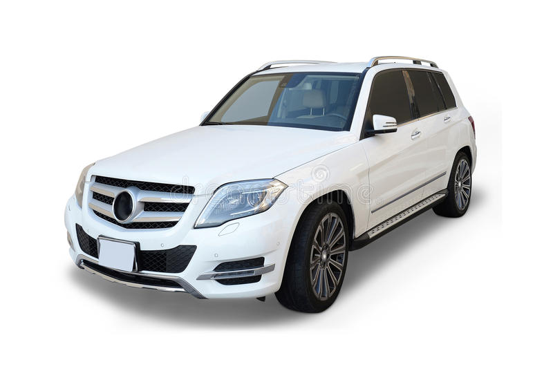 Mercedes Benz SUV. A white Mercedez-Benz SUV isolated on white background stock photography