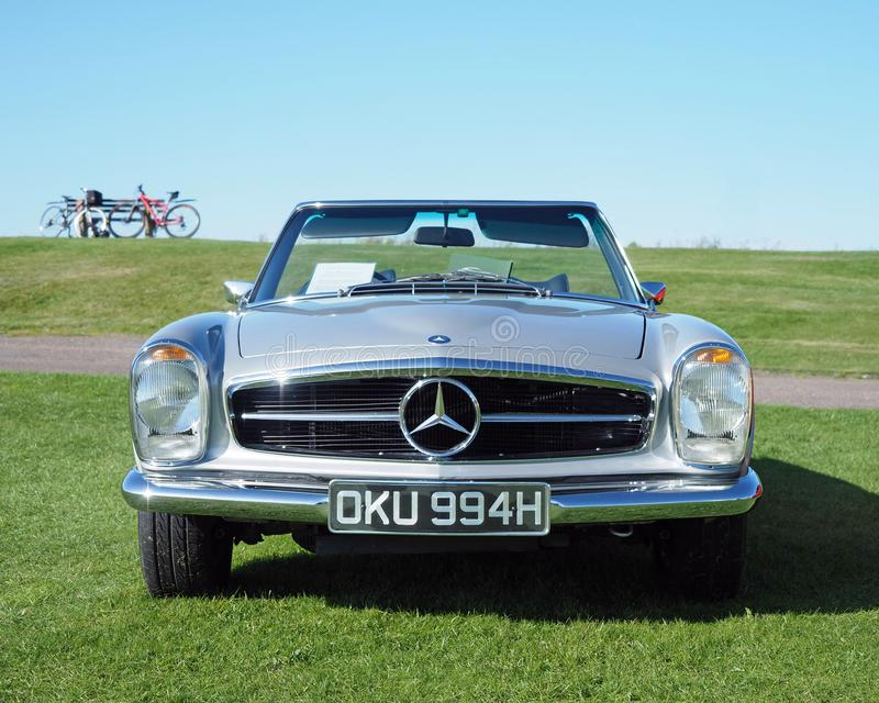 Mercedes Benz W113 280 SL Roadster, front view. Metallic grey silver, Mercedes Benz, W113, SL280 Roadster convertible built in 1970. Made from 1967 to 1971 stock photos