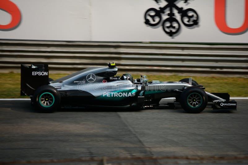 Mercedes Formula 1 at Monza driven by Nico Rosberg stock photo