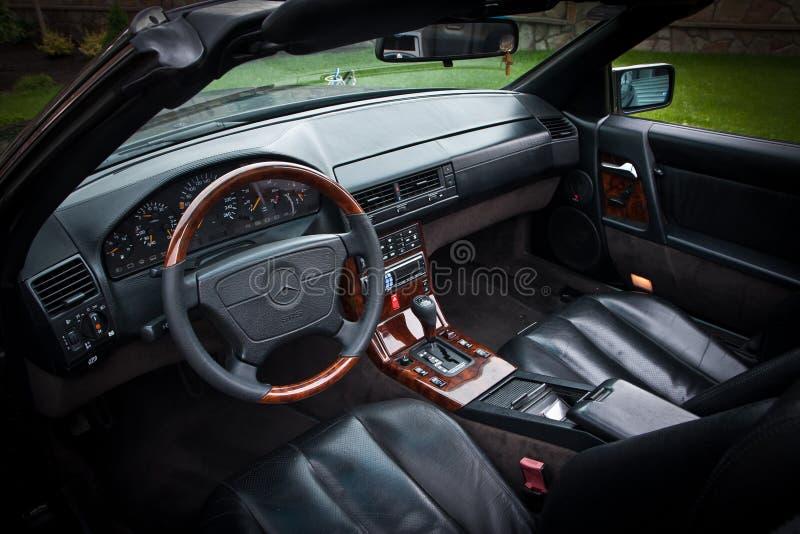 Mercedes interior. Dashboard steering wheel roadster royalty free stock image