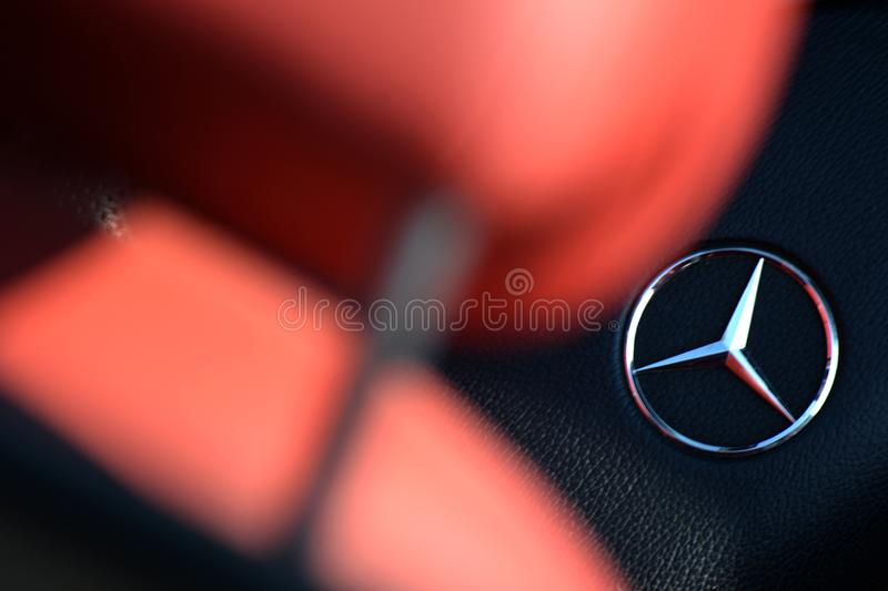 Mercedes logo. Mercedes Benz car logo interior stock photography