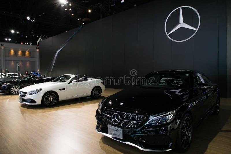 Mercedes på skärm i Bangkok den internationella motoriska showen 2017 royaltyfri foto