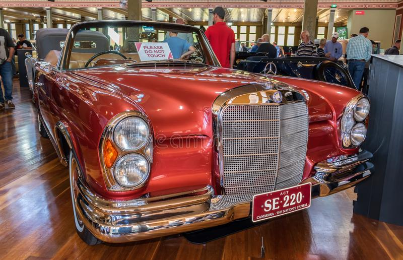 1964 Mercedes 220 SE Cabriolet car at Motorclassica. Motorclassica is Australasia's premier event for vintage, classic and exotic motoring royalty free stock images