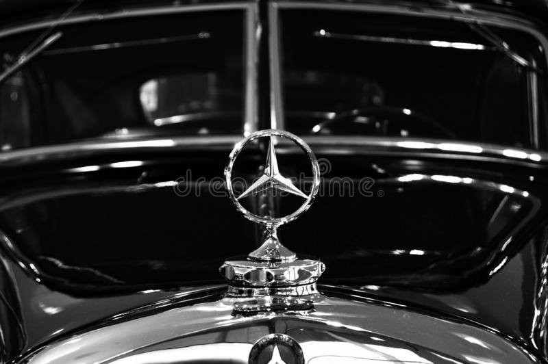 Mercedes badge on vintage model stock image
