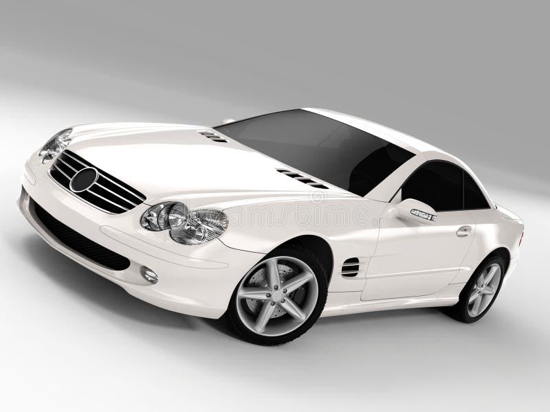 Mercedes SL 500. Realistic render three-dimensional model of the white Mercedes SL 500 stock illustration