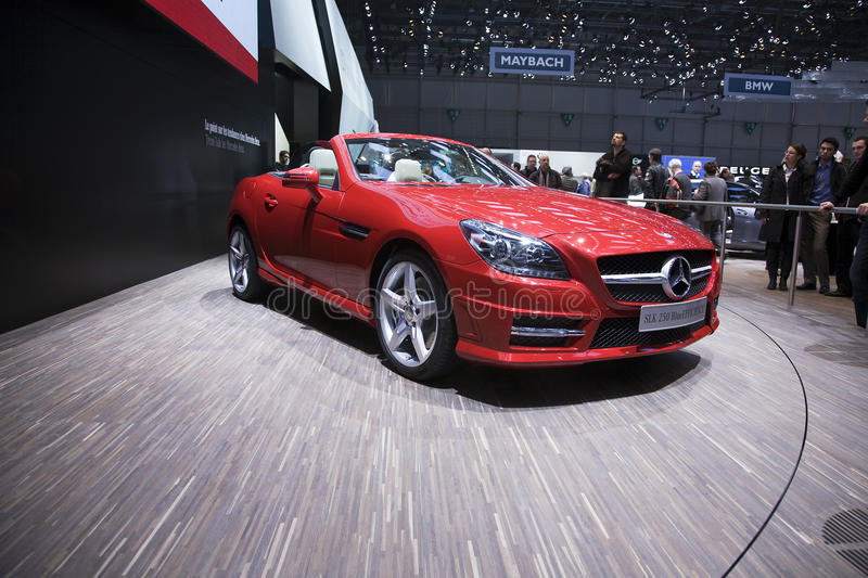 Mercedes SLK 250 BlueEfficiency. At the 2011 Geneva Motor Show. Photo taken on: March 04th, 2011 stock photography