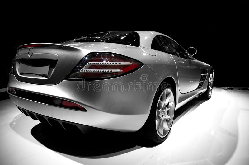 Mercedes SLR. Back view - 3/4 - no trademarks royalty free stock images
