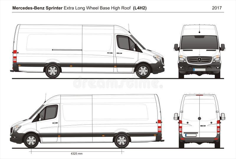 Mercedes Sprinter Extra LWB haut Roof Cargo Van L4H2 2017 illustration stock