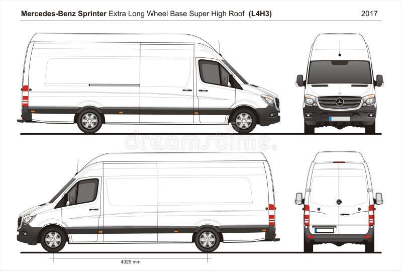 Mercedes Sprinter Extra LWB Telhado alto super Carga Van L4H3 2017 ilustração royalty free