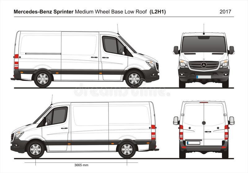 Mercedes Sprinter MWB bas Roof Cargo Van L2H1 2017 illustration stock