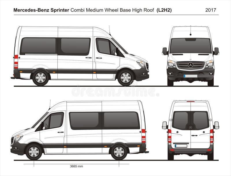 Mercedes Sprinter MWB högt tak Combi Skåpbil L2H2 2017 royaltyfri illustrationer