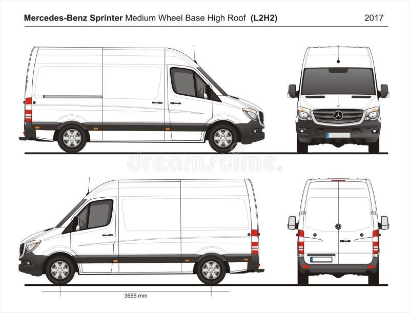 Mercedes Sprinter MWB haut Roof Cargo Van L2H2 2017 illustration de vecteur