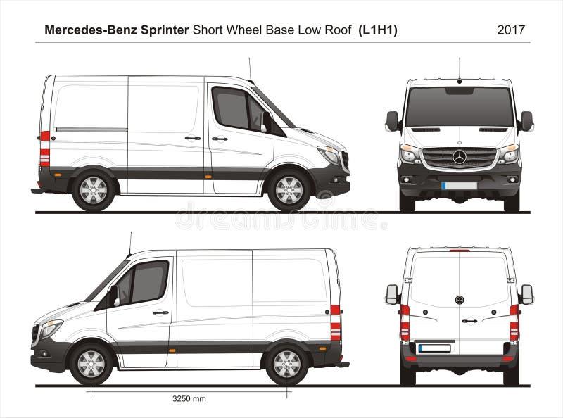 Mercedes Sprinter SWB bas Roof Cargo Van L1H1 2017 illustration libre de droits
