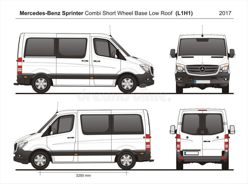 Mercedes Sprinter SWB bas Roof Combi Van L1H1 2017 illustration stock