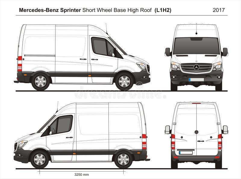 Mercedes Sprinter SWB haut Roof Cargo Van L1H2 2017 illustration stock