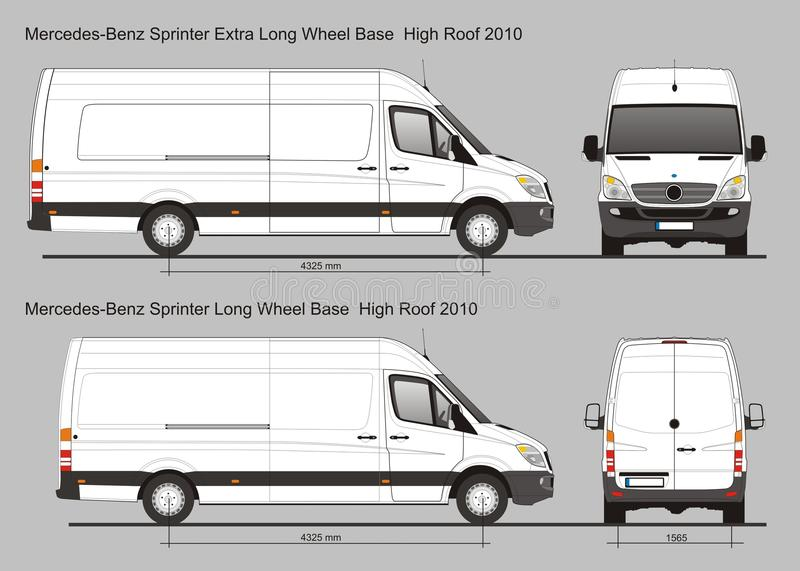 Mercedes Sprinter Van LWB et LWB supplémentaire illustration de vecteur