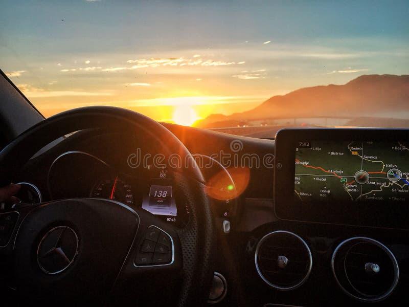 Mercedes sunset royalty free stock photo