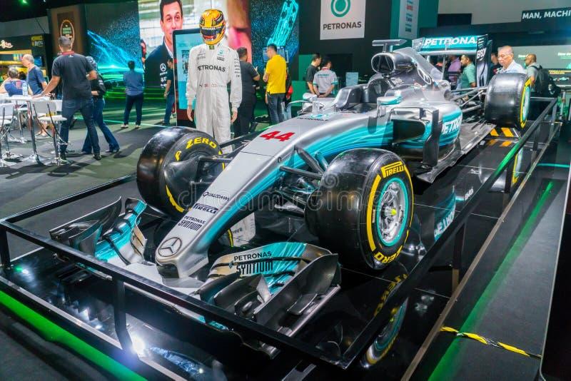 Mercedez AMG Petronas F1 samochód przy Kuala Lumpur Motorowym przedstawieniem obraz stock