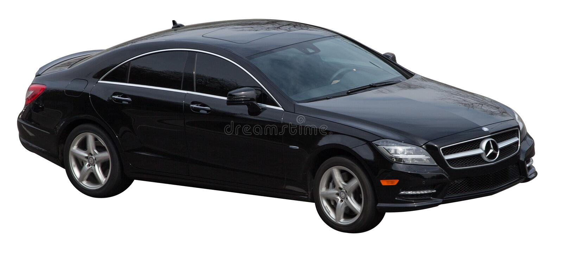 Mercedez s klasy coupe czerń na przejrzystym tle fotografia stock