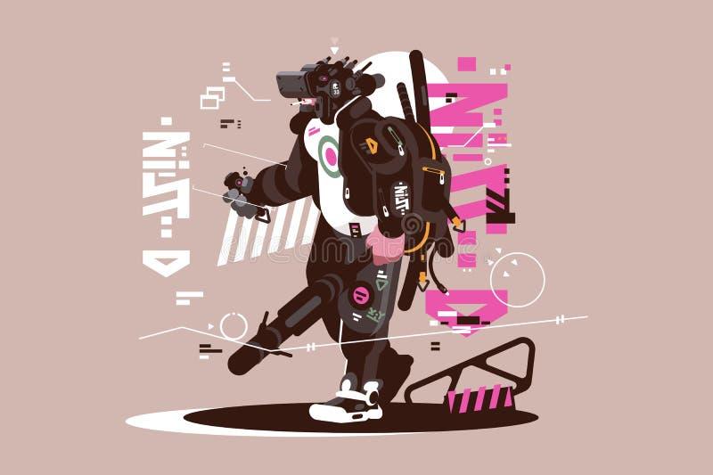 Mercenario del abejón del robot mecanizado y automatizado ilustración del vector
