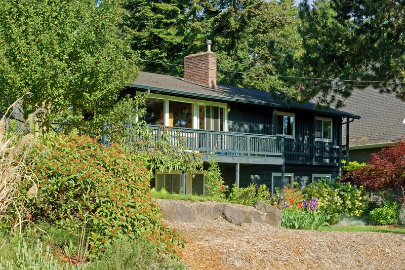 Mercer Island, Washington, United States. House. In blossoming garden royalty free stock photography