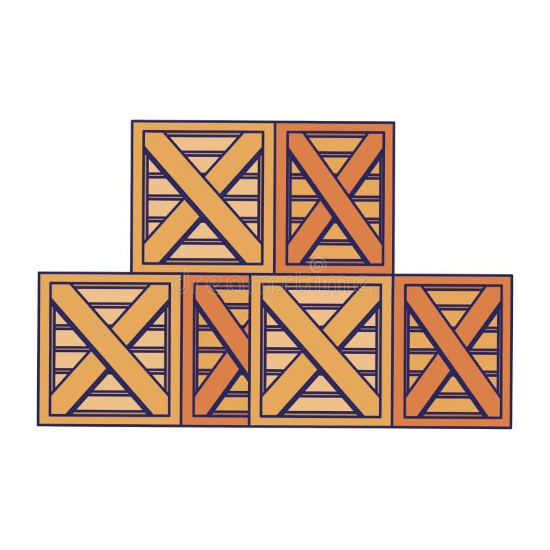 Merchandise drewniani pudełka wypiętrzający w górę niebieskich linii ilustracja wektor