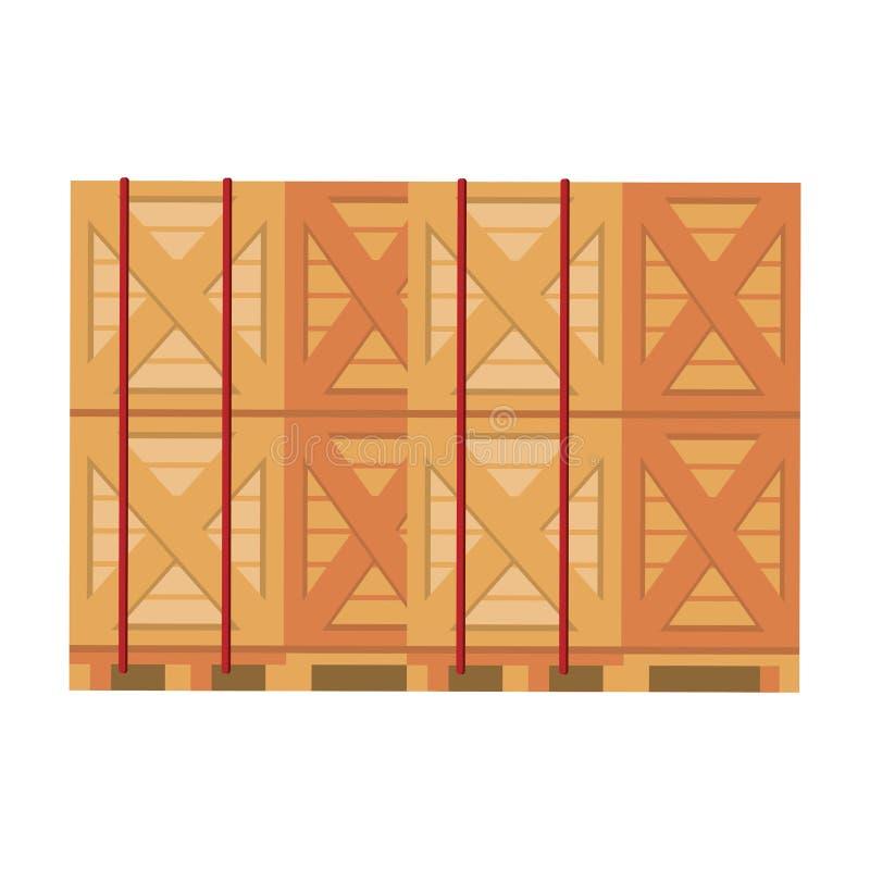 Merchandise drewniani pudełka wypiętrzający w górę ilustracja wektor