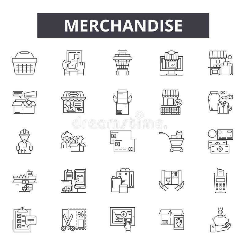 Merchandise line icons, signs, vector set, outline illustration concept. Merchandise line icons, signs, vector set, outline concept illustration stock illustration