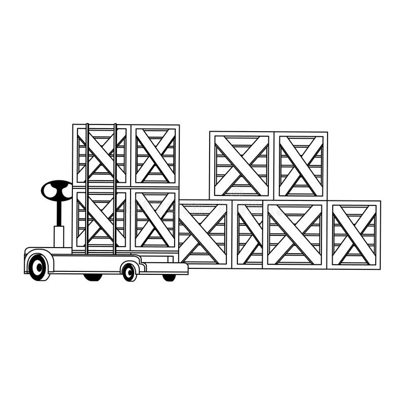 Merchandise wooden boxes piled up in black and white. Merchandise wooden boxes piled up and handtruck vector illustration stock illustration