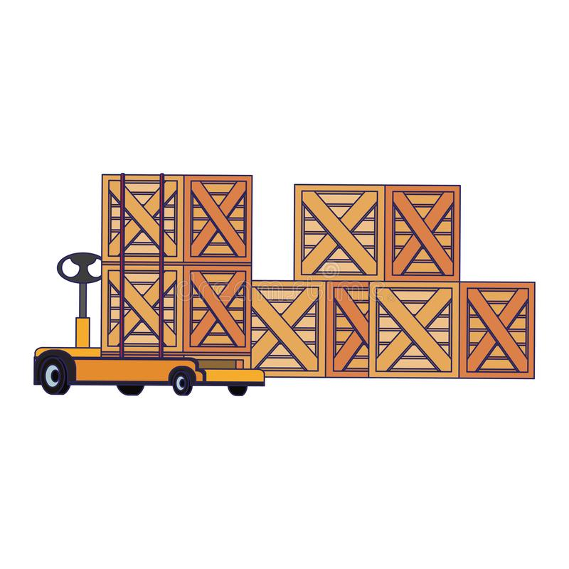Merchandise wooden boxes piled up blue lines. Merchandise wooden boxes piled up and handtruck vector illustration royalty free illustration