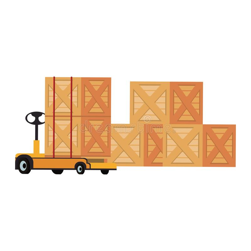 Merchandise wooden boxes piled up. And handtruck vector illustration royalty free illustration