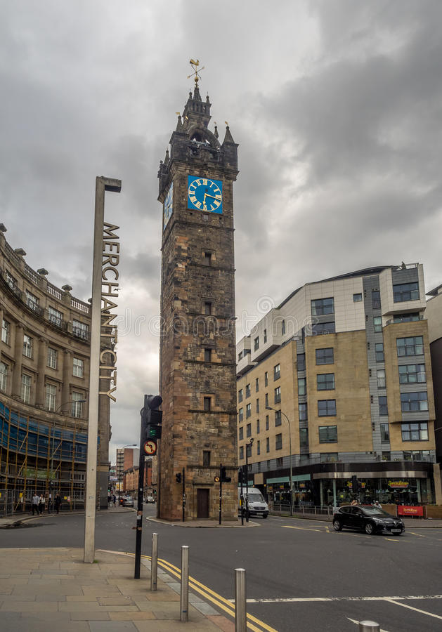 Merchant City with the Tolbooth Steeple stock photography