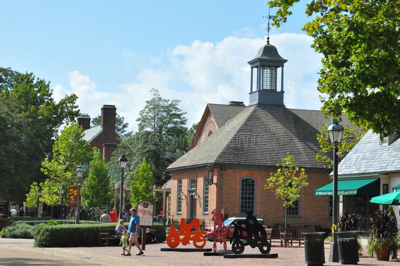 Merchants Square in Colonial Williamsburg, Virginia stock images