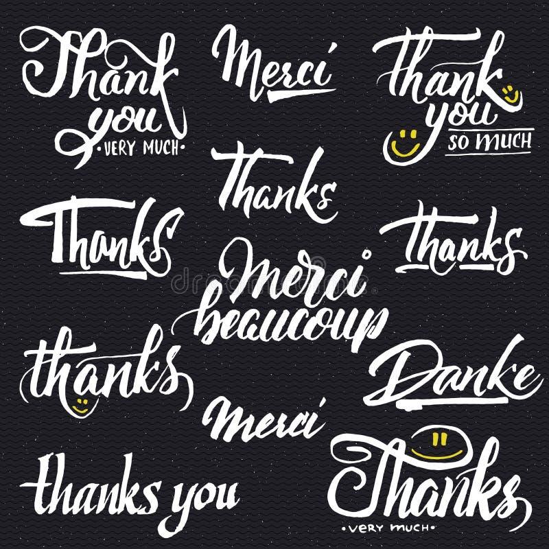 Merci, beaucoup de merci, danke- typographique illustration libre de droits