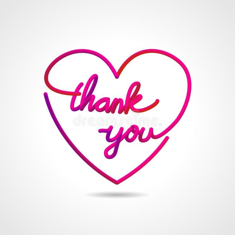 Merci, belle conception de inscription réaliste de vecteur de carte de voeux dans la forme d'amour illustration stock