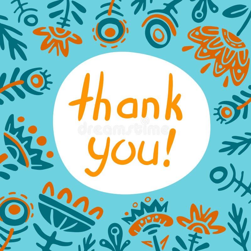 Merci carder Carte de voeux gentille Illustration plate de vecteur de cadre carré de fleurs de griffonnage Couleur fabuleuse de l photos libres de droits