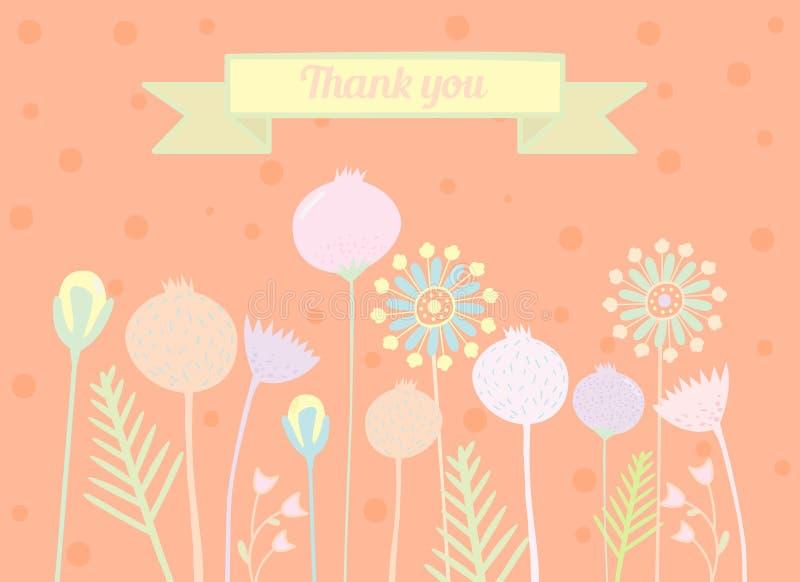 Merci carder des conceptions florales images libres de droits